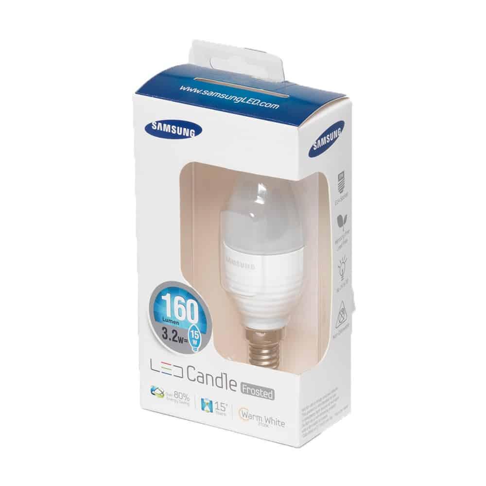 Λάμπα Led κερί SAMSUNG E14 3.2w MILKY 230v 2700k