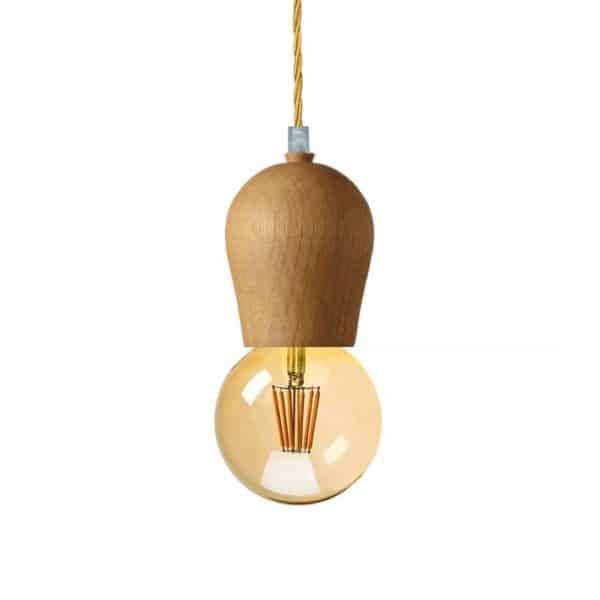 Κρεμαστό ξύλινο φωτιστικό με υφασμάτινο καλώδιο σε χρώμα χρυσό