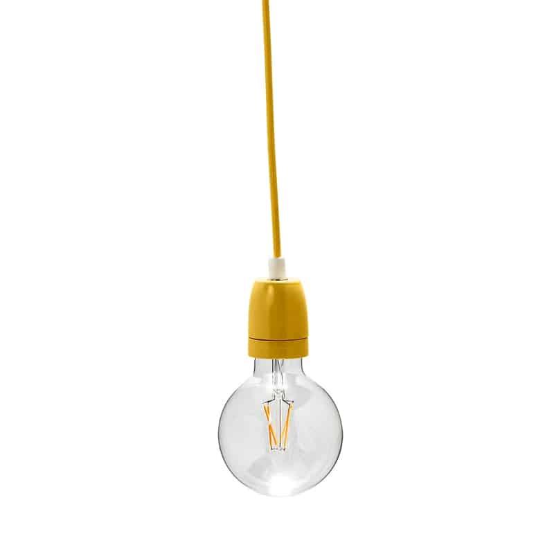 Κίτρινο κρεμαστό φωτιστικό με υφασμάτινο καλώδιο 275PLNCOR my fabric