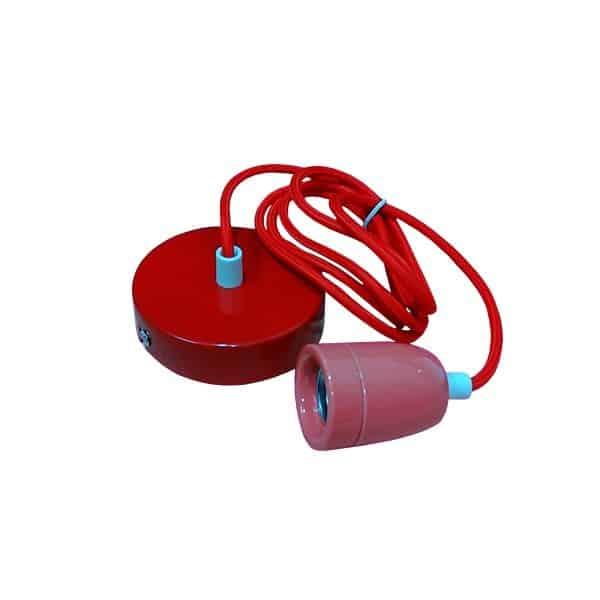 Κόκκινο κρεμαστό φωτιστικό με ντουϊ, ροζέτα και υφασμάτινο καλώδιο, my fabric cables
