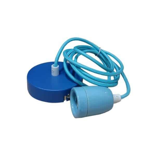 μπλε κρεμαστό φωτιστικό με ντουϊ, ροζέτα και υφασμάτινο καλώδιο, blue my fabric cables
