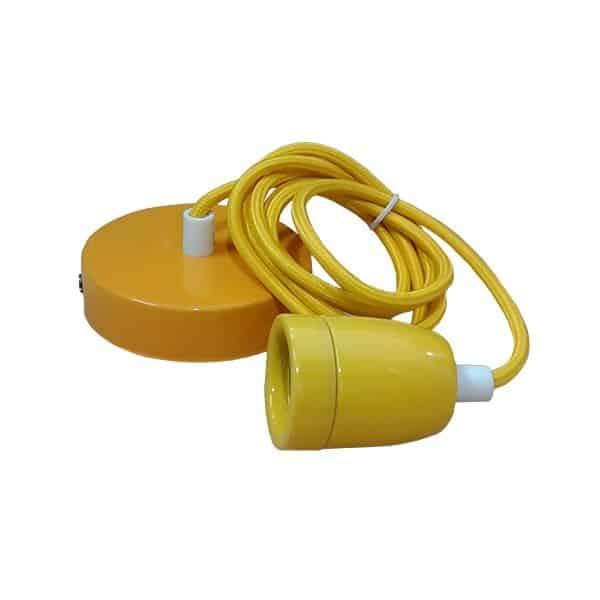 Κίτρινο κρεμαστό φωτιστικό με ντουϊ, ροζέτα και υφασμάτινο καλώδιο, blue my fabric cables