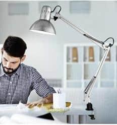 Φωτιστικό σχεδιαστηρίου λευκό με μέγγενη 4025 Perenz