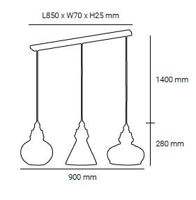 Φωτιστικό κρεμαστό τριφωτο HERA SB3 00408 SOLLO