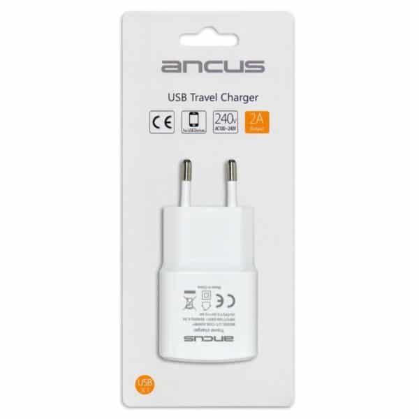 Φορτιστής Ταξιδίου Ancus Usb 2000 mAh Switching 5V Λευκός 5210029054716