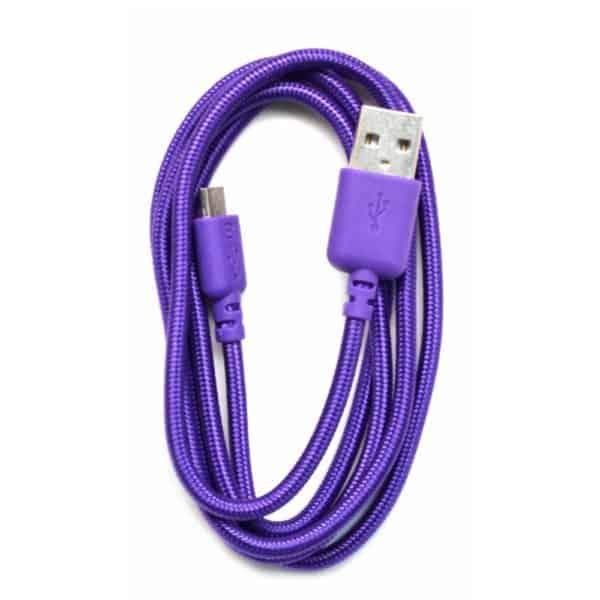 Καλώδιο σύνδεσης κορδόνι Ancus USB σε Micro USB με ενισχυμένες επαφές μωβ 5210029008733