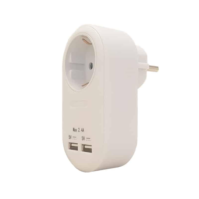Αντάπτορας με 1 θεση σούκο και δύο θύρες USB 04.00012 com