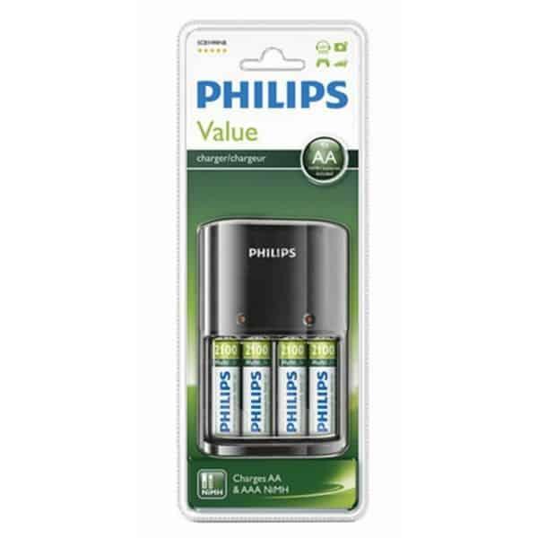 Φορτιστής μπαταριών PHILIPS value για ΑΑ & ΑΑΑ με μπαταρίες 4xAA