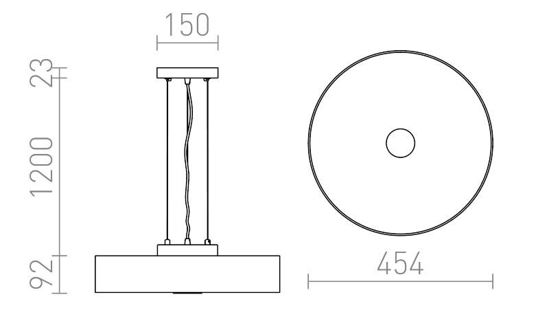 φωτιστικόι κρεμαστό κυκλικό 3xE27 MONA διαστάσεις