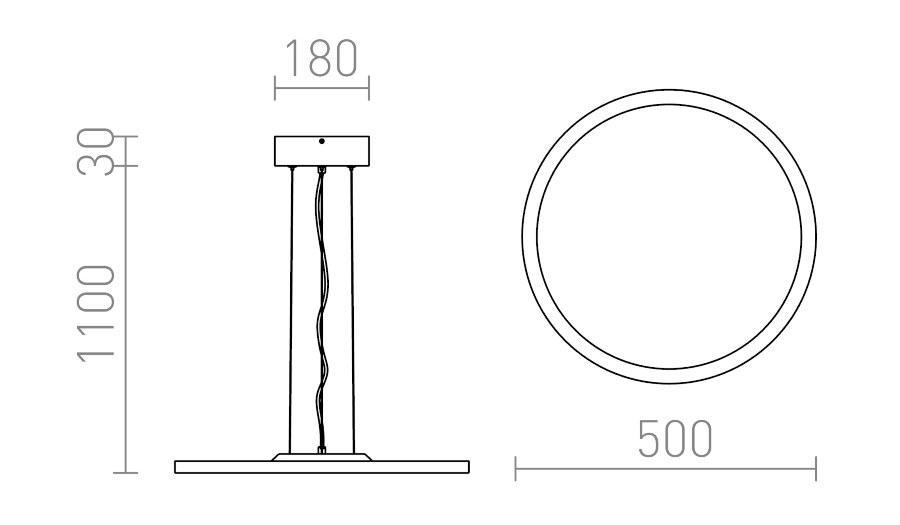 φωτιστικό κρεμαστο led moneta διαστάσεις