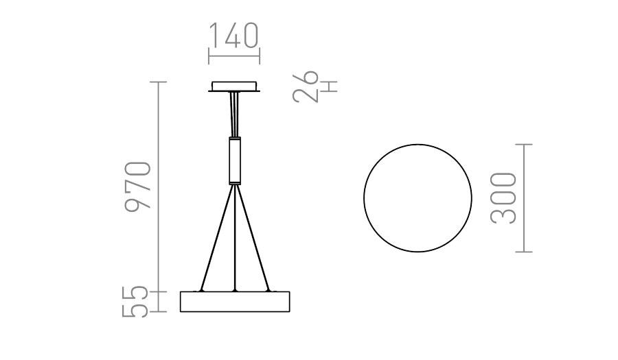 φωτιστικό κρεμαστό led larisa r 30 διαστάσεις