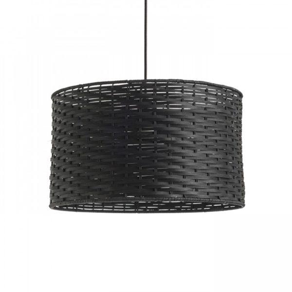 φωτιστικό κρεμαστό με καπέλο μπαμπού FIATLUX σε μαύρο χρώμα