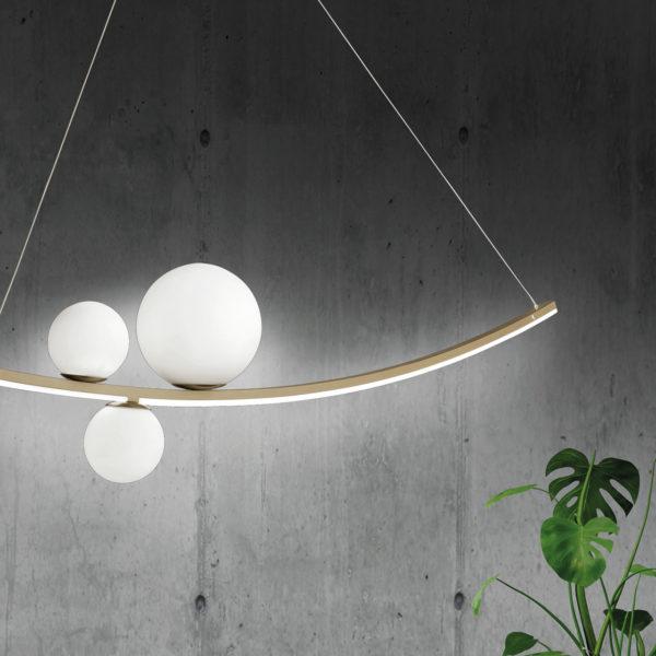 Πρωτότυπο φωτιστικό οροφής led SO.ALTALENA/ORO ONDALUCE