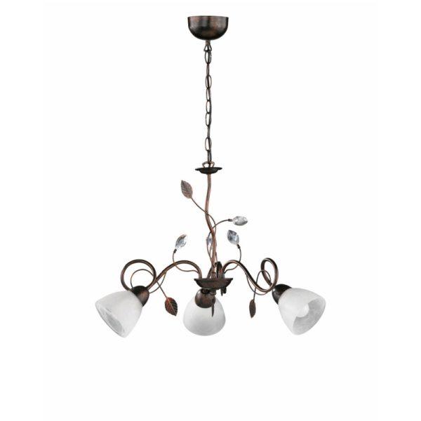 κλασικό φωτιστικό με μεταλλικά και γυάλινα διακοσμητικά traditio trio lighting